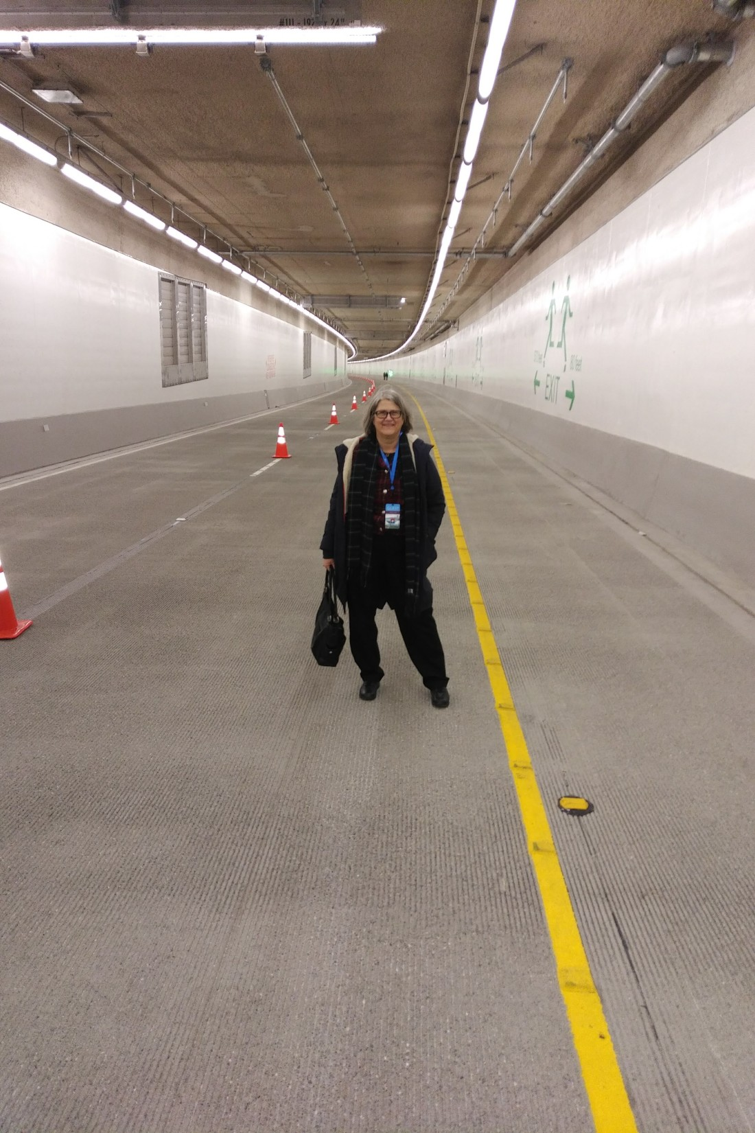 Nancy Smith in the completed SR-99 tunnel