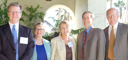photo of coastal seminar participants: From left to right: John Flynn III, partner, Bonnie Neely, Senior Policy Advisor, Mary Shallenberger, Chair of the California Coastal Commission, Charles Lester, Executive Director of the California Coastal Commission, and John Erskine, partner.