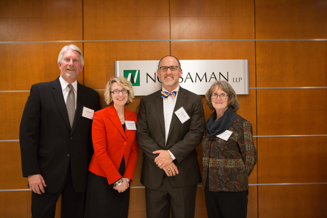 Pictured from left to right: Reed Neuman, Partner, Nossaman LLP; Antonia Fasanelli, Executive Director, HPRP; John Smolen, Associate, Nossaman LLP; and Patricia Mullahy Fugere, Executive Director, WLCH.